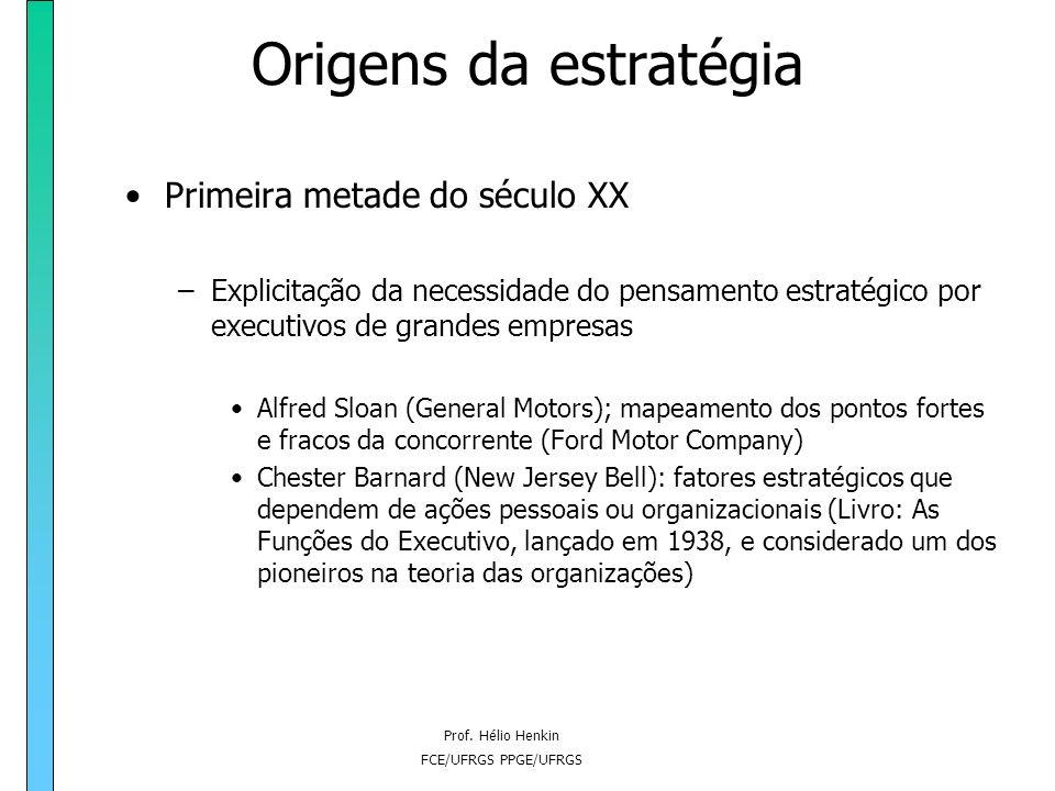 Prof. Hélio Henkin FCE/UFRGS PPGE/UFRGS Origens da estratégia A partir da Segunda Revolução Industrial: –A emergência da estratégia como forma de mold