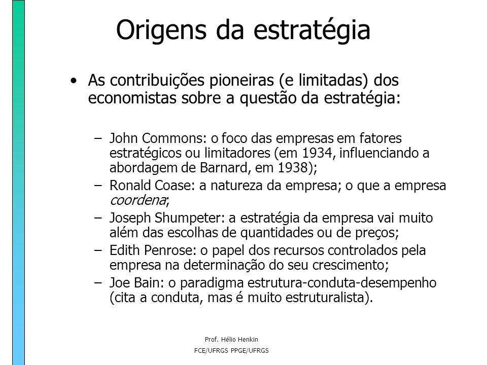 Prof. Hélio Henkin FCE/UFRGS PPGE/UFRGS Origens da estratégia O pós-guerra e a década de 50: -Discussão sobre estratégia não avançou tanto no setor pr