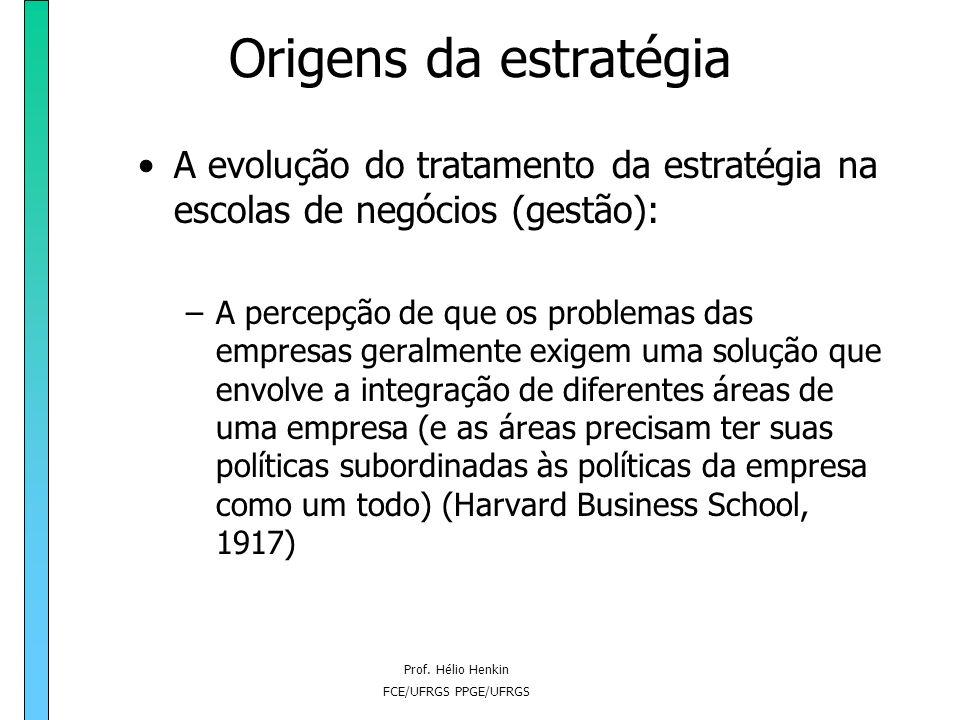 Prof. Hélio Henkin FCE/UFRGS PPGE/UFRGS Origens da estratégia As contribuições pioneiras (e limitadas) dos economistas sobre a questão da estratégia: