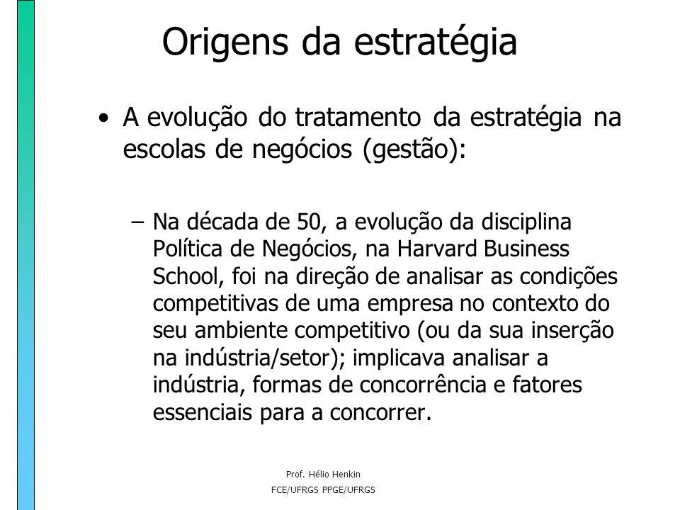 Prof. Hélio Henkin FCE/UFRGS PPGE/UFRGS Origens da estratégia A evolução do tratamento da estratégia na escolas de negócios (gestão): –A percepção de