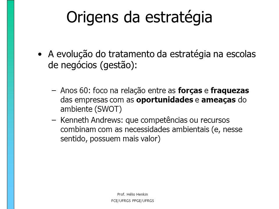Prof. Hélio Henkin FCE/UFRGS PPGE/UFRGS Origens da estratégia A evolução do tratamento da estratégia na escolas de negócios (gestão): –Andrews (um dos
