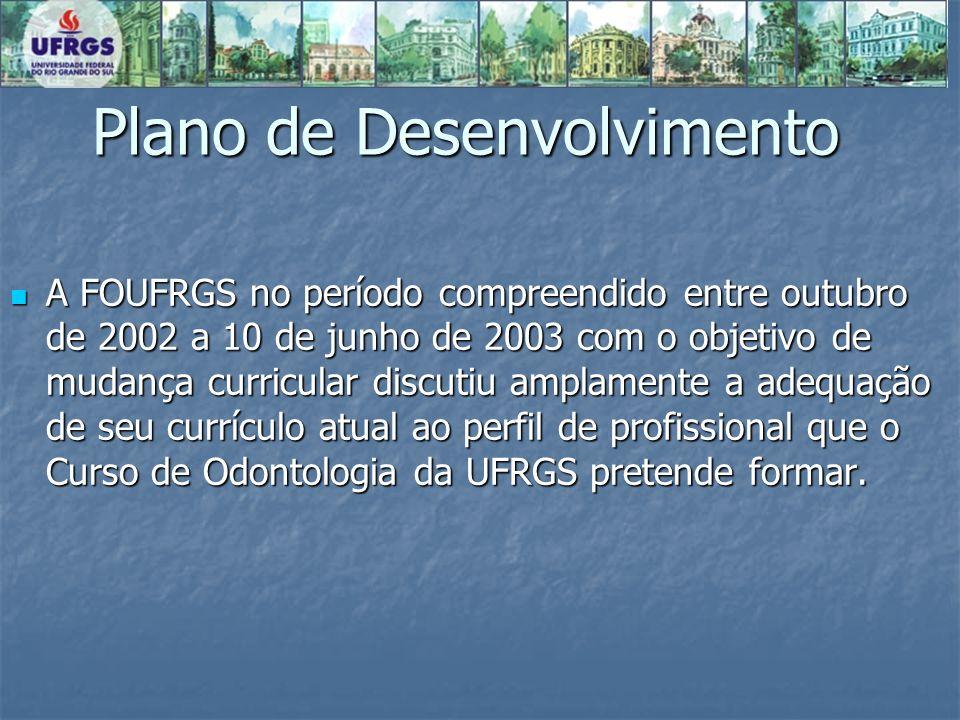 Plano de Desenvolvimento A FOUFRGS no período compreendido entre outubro de 2002 a 10 de junho de 2003 com o objetivo de mudança curricular discutiu a