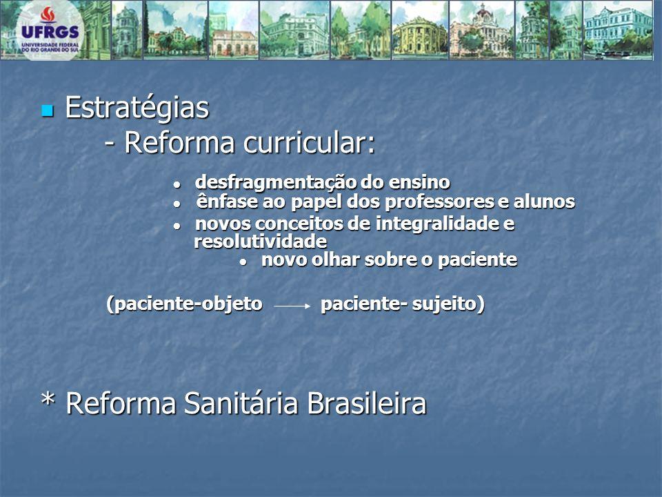 Estratégias Estratégias - Reforma curricular: - Reforma curricular: desfragmentação do ensino ênfase ao papel dos professores e alunos desfragmentação