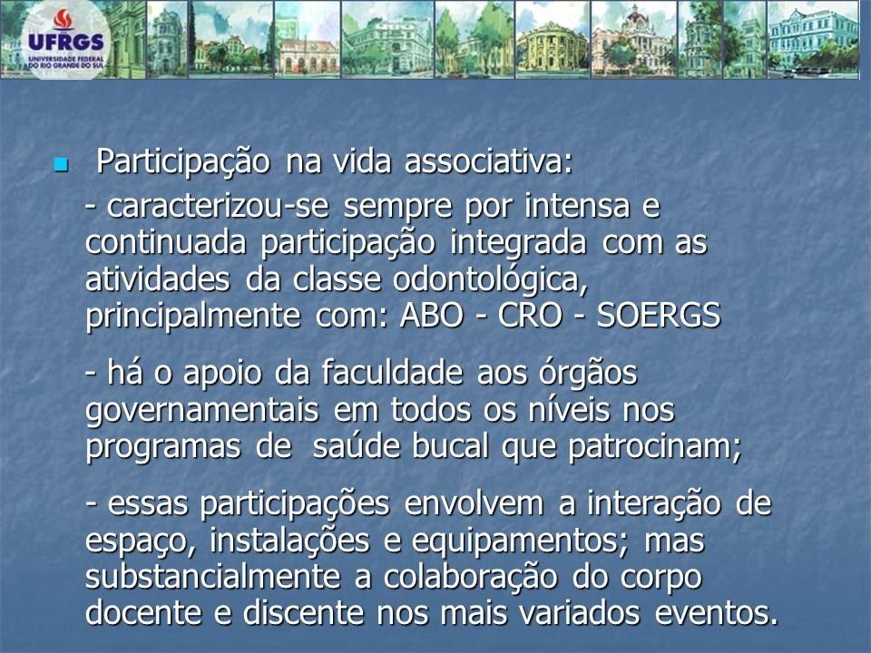 Participação na vida associativa: Participação na vida associativa: - caracterizou-se sempre por intensa e continuada participação integrada com as at