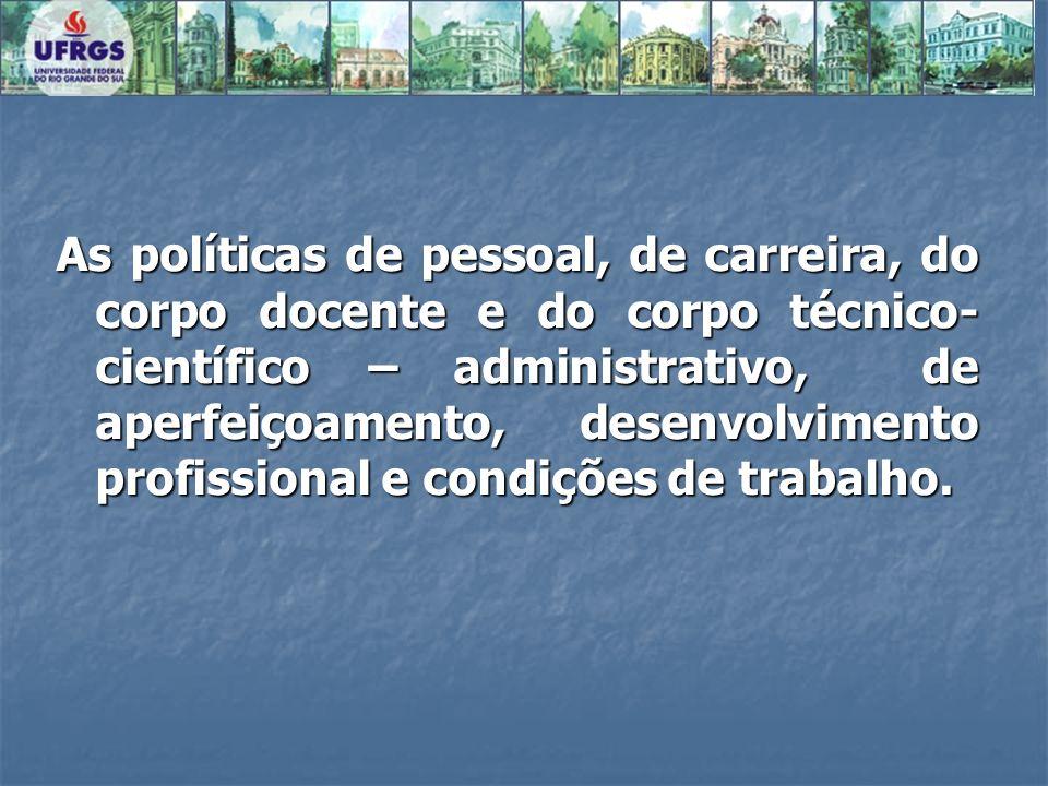 As políticas de pessoal, de carreira, do corpo docente e do corpo técnico- científico – administrativo, de aperfeiçoamento, desenvolvimento profission