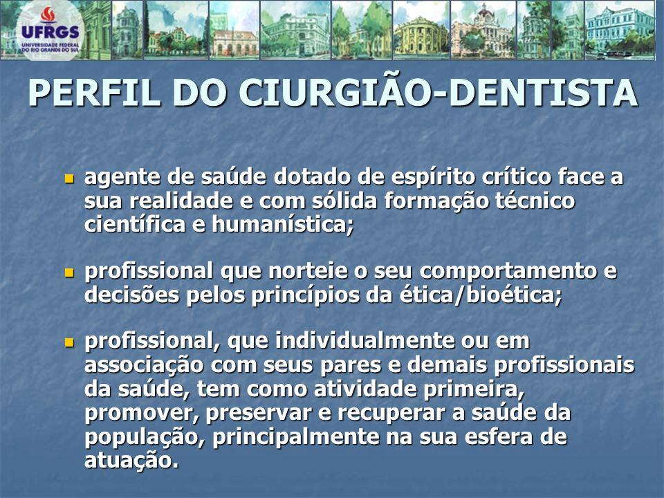 PERFIL DO CIURGIÃO-DENTISTA agente de saúde dotado de espírito crítico face a sua realidade e com sólida formação técnico científica e humanística; ag