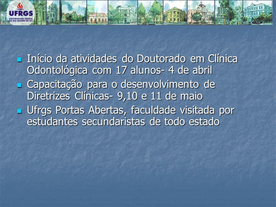 Início da atividades do Doutorado em Clínica Odontológica com 17 alunos- 4 de abril Início da atividades do Doutorado em Clínica Odontológica com 17 a