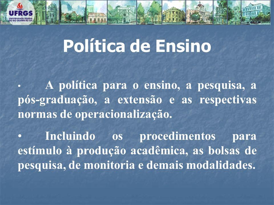 A política para o ensino, a pesquisa, a pós-graduação, a extensão e as respectivas normas de operacionalização. Incluindo os procedimentos para estímu