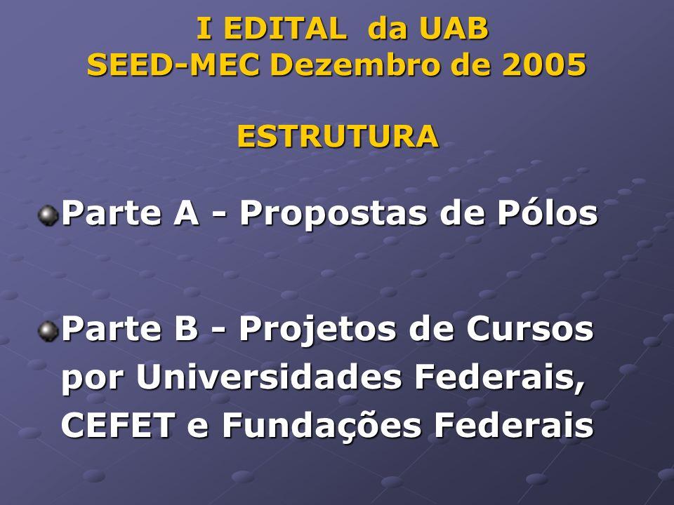I EDITAL da UAB SEED-MEC Dezembro de 2005 ESTRUTURA I EDITAL da UAB SEED-MEC Dezembro de 2005 ESTRUTURA Parte A - Propostas de Pólos Parte B - Projetos de Cursos por Universidades Federais, CEFET e Fundações Federais