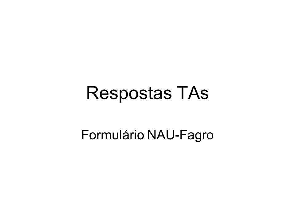 Respostas TAs Formulário NAU-Fagro
