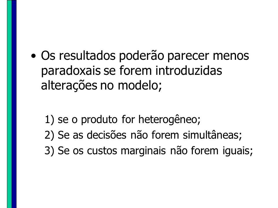 Os resultados poderão parecer menos paradoxais se forem introduzidas alterações no modelo; 1) se o produto for heterogêneo; 2) Se as decisões não fore