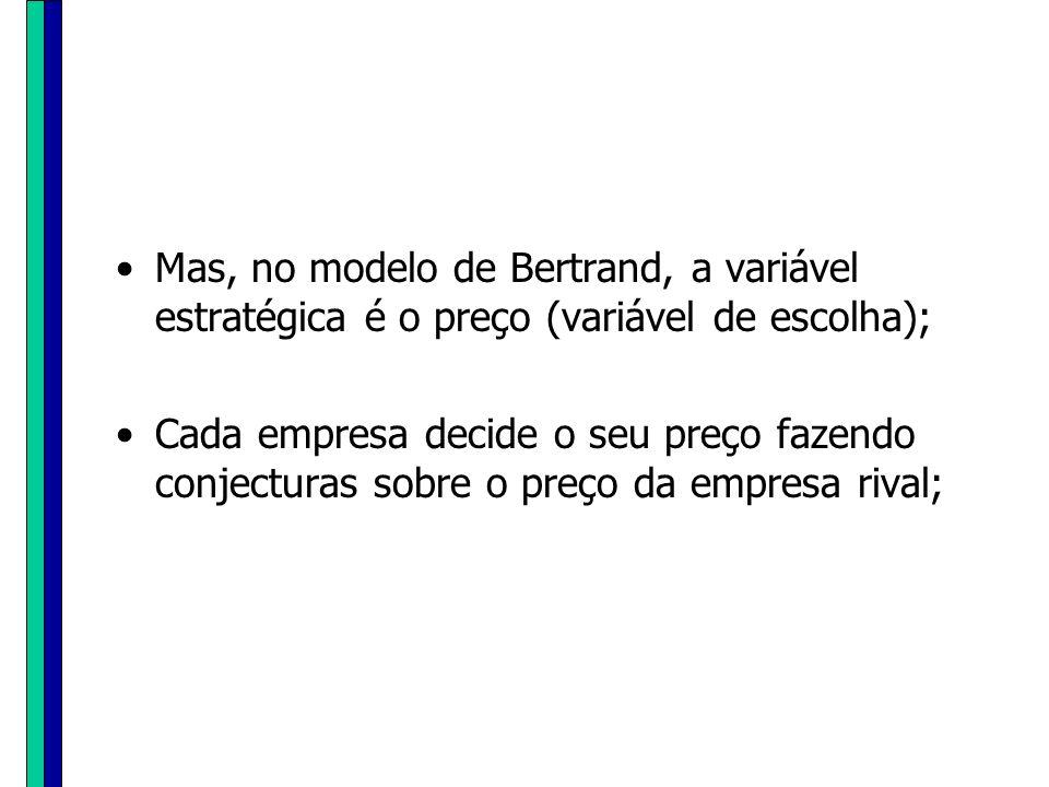 Mas, no modelo de Bertrand, a variável estratégica é o preço (variável de escolha); Cada empresa decide o seu preço fazendo conjecturas sobre o preço