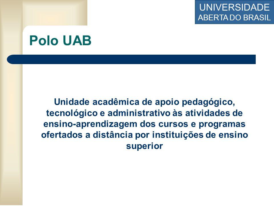 UNIVERSIDADE ABERTA DO BRASIL Unidade acadêmica de apoio pedagógico, tecnológico e administrativo às atividades de ensino-aprendizagem dos cursos e pr