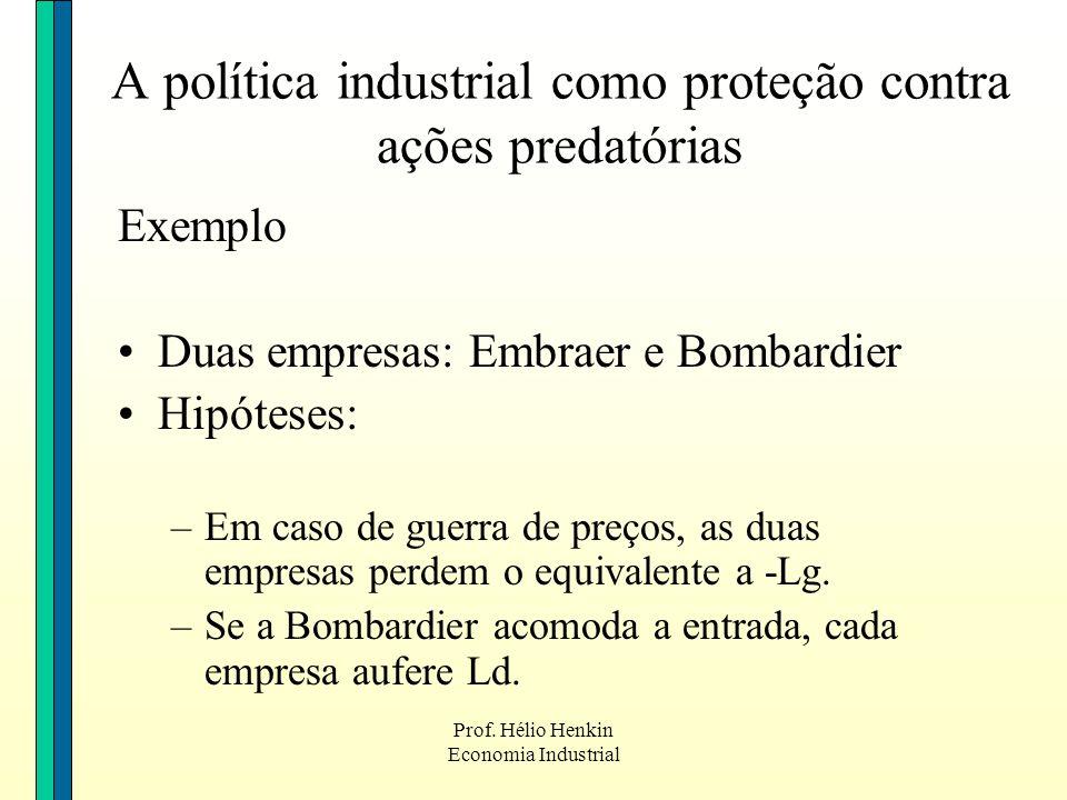 Prof. Hélio Henkin Economia Industrial A política industrial como proteção contra ações predatórias Exemplo Duas empresas: Embraer e Bombardier Hipóte