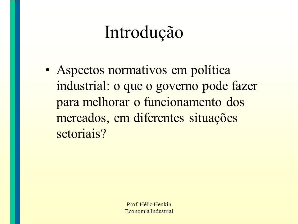 Prof. Hélio Henkin Economia Industrial Introdução Aspectos normativos em política industrial: o que o governo pode fazer para melhorar o funcionamento
