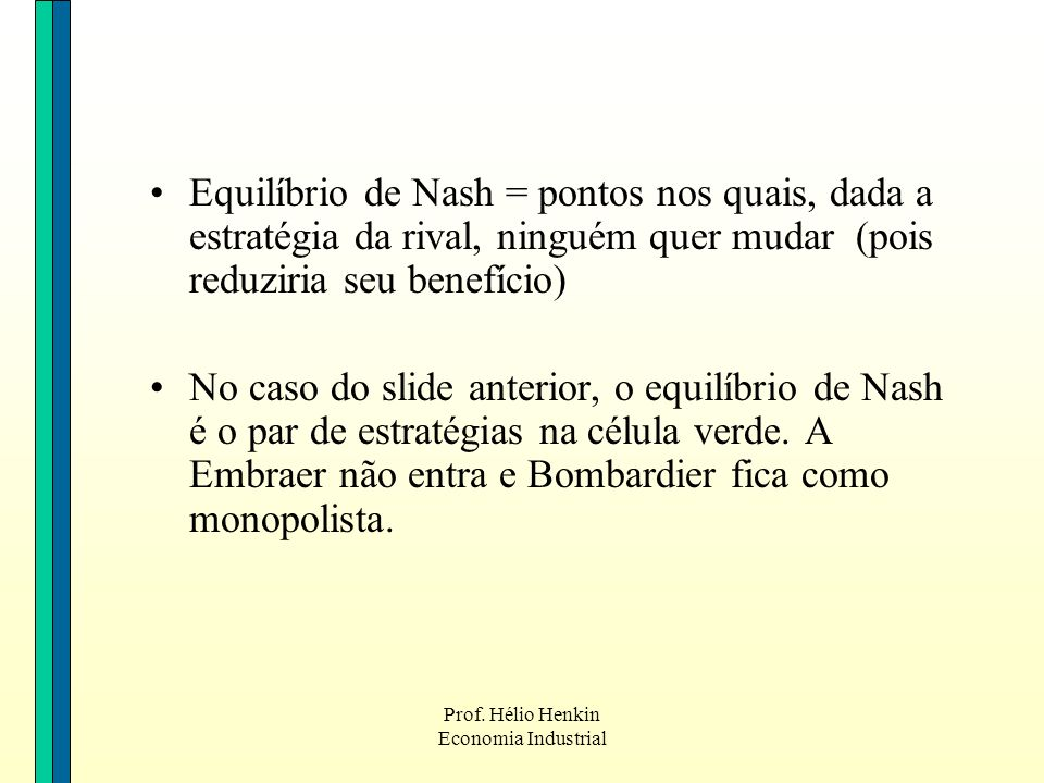 Prof. Hélio Henkin Economia Industrial Equilíbrio de Nash = pontos nos quais, dada a estratégia da rival, ninguém quer mudar (pois reduziria seu benef