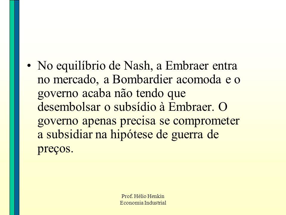 Prof. Hélio Henkin Economia Industrial No equilíbrio de Nash, a Embraer entra no mercado, a Bombardier acomoda e o governo acaba não tendo que desembo