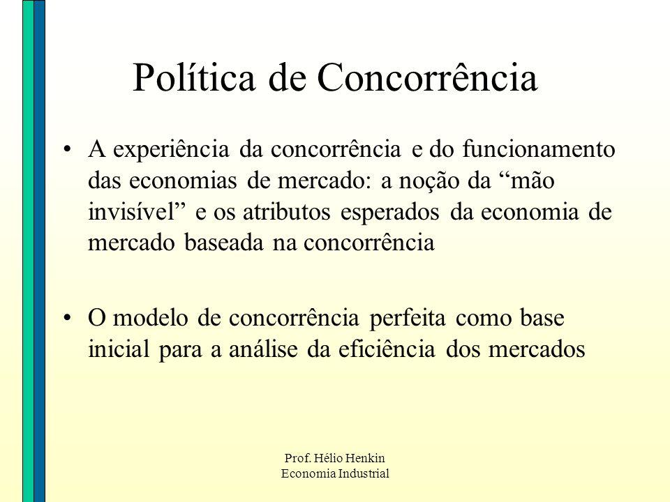 Prof. Hélio Henkin Economia Industrial Política de Concorrência A experiência da concorrência e do funcionamento das economias de mercado: a noção da