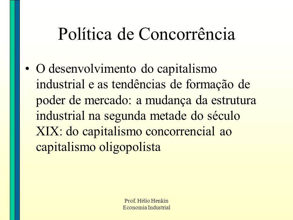 Prof. Hélio Henkin Economia Industrial O desenvolvimento do capitalismo industrial e as tendências de formação de poder de mercado: a mudança da estru