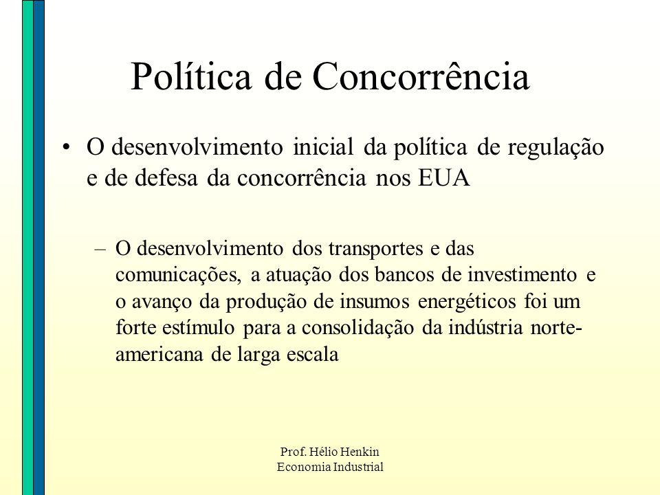 Prof. Hélio Henkin Economia Industrial O desenvolvimento inicial da política de regulação e de defesa da concorrência nos EUA –O desenvolvimento dos t