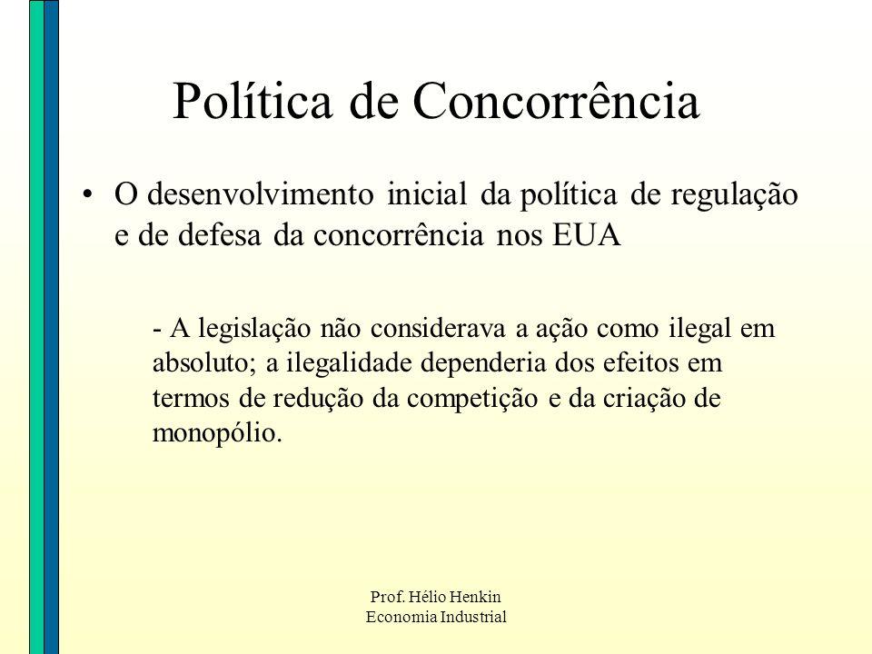 Prof. Hélio Henkin Economia Industrial O desenvolvimento inicial da política de regulação e de defesa da concorrência nos EUA - A legislação não consi