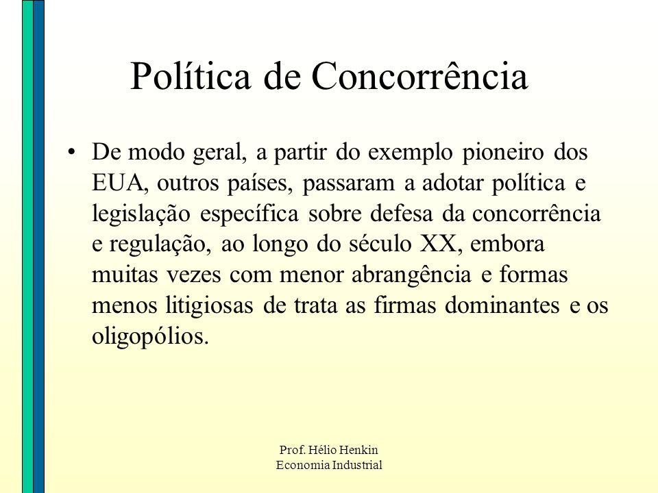 Prof. Hélio Henkin Economia Industrial De modo geral, a partir do exemplo pioneiro dos EUA, outros países, passaram a adotar política e legislação esp
