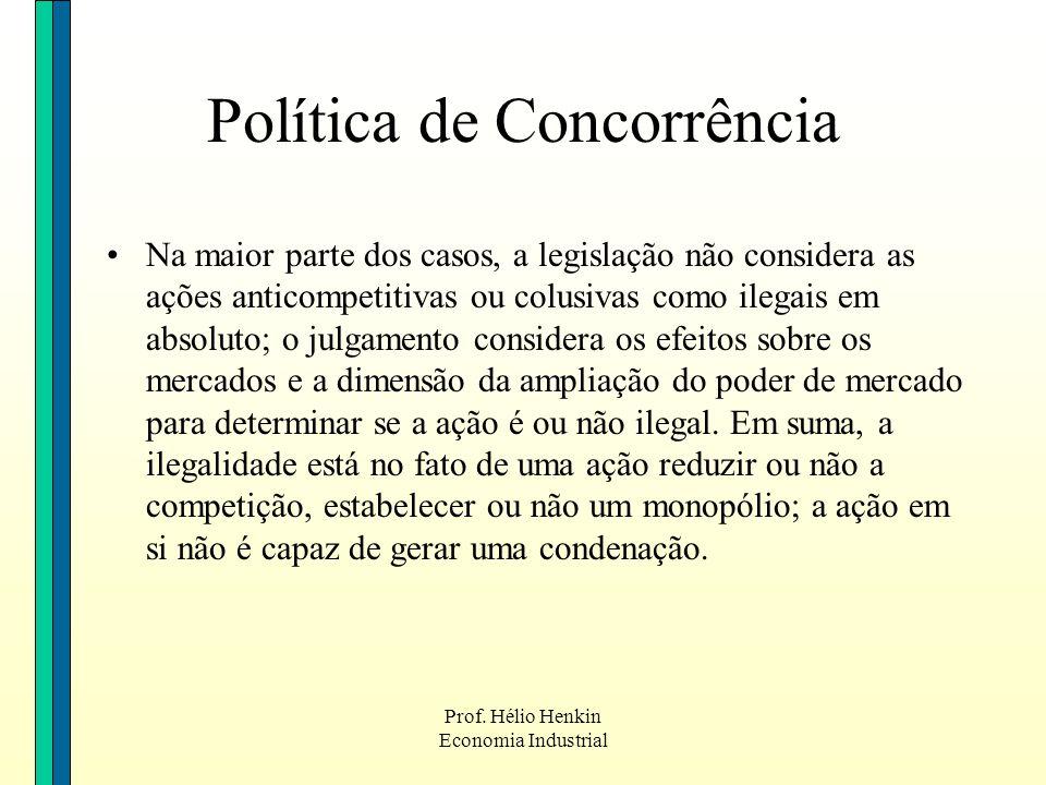 Prof. Hélio Henkin Economia Industrial Na maior parte dos casos, a legislação não considera as ações anticompetitivas ou colusivas como ilegais em abs