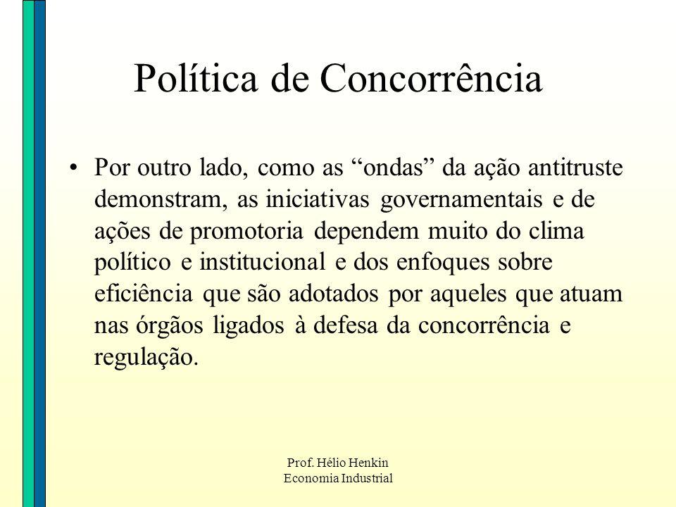 Prof. Hélio Henkin Economia Industrial Por outro lado, como as ondas da ação antitruste demonstram, as iniciativas governamentais e de ações de promot