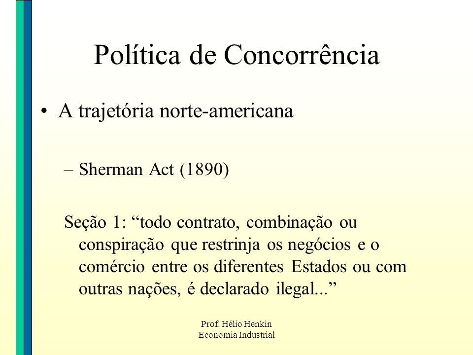Prof. Hélio Henkin Economia Industrial Política de Concorrência A trajetória norte-americana –Sherman Act (1890) Seção 1: todo contrato, combinação ou