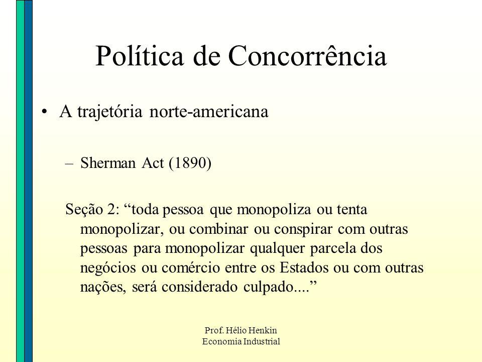 Prof. Hélio Henkin Economia Industrial Política de Concorrência A trajetória norte-americana –Sherman Act (1890) Seção 2: toda pessoa que monopoliza o
