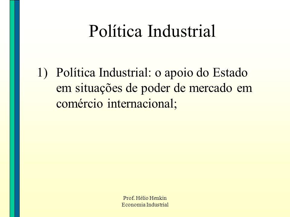 Prof. Hélio Henkin Economia Industrial Política Industrial 1)Política Industrial: o apoio do Estado em situações de poder de mercado em comércio inter