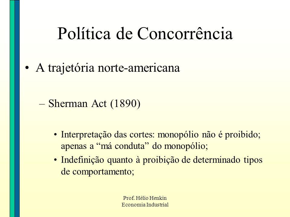 Prof. Hélio Henkin Economia Industrial Política de Concorrência A trajetória norte-americana –Sherman Act (1890) Interpretação das cortes: monopólio n