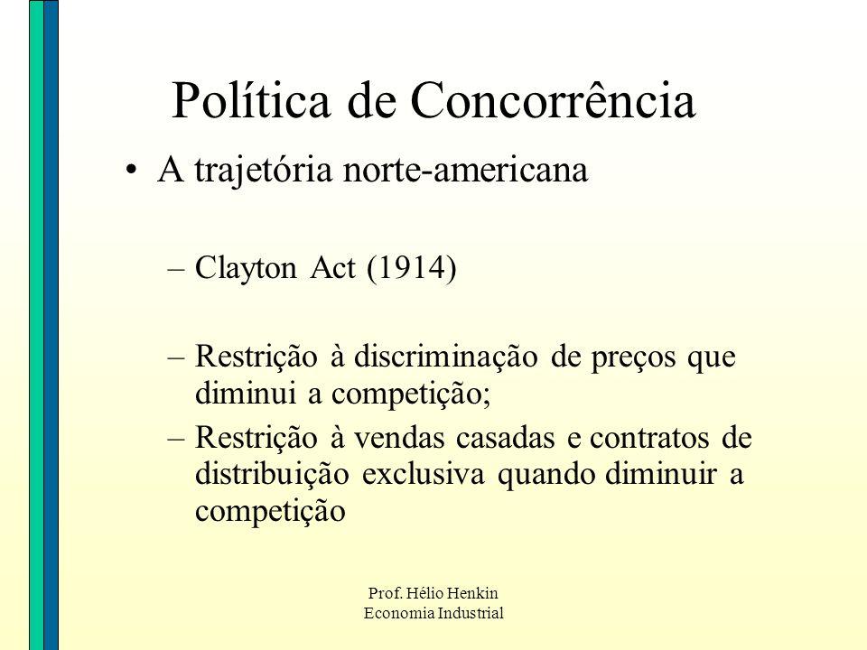 Prof. Hélio Henkin Economia Industrial Política de Concorrência A trajetória norte-americana –Clayton Act (1914) –Restrição à discriminação de preços