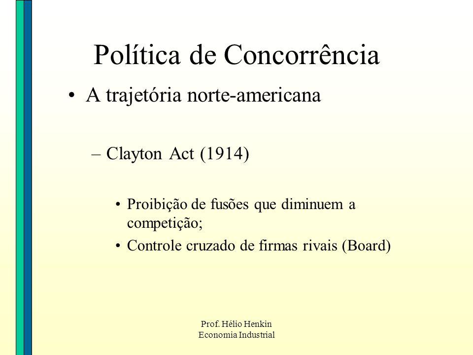 Prof. Hélio Henkin Economia Industrial Política de Concorrência A trajetória norte-americana –Clayton Act (1914) Proibição de fusões que diminuem a co