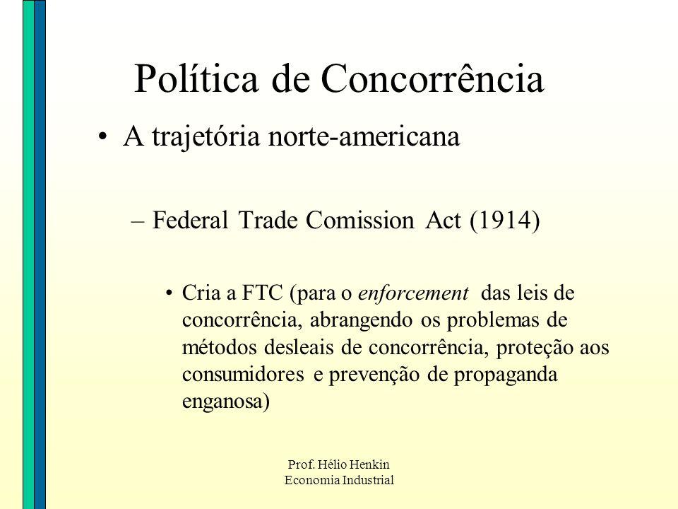 Prof. Hélio Henkin Economia Industrial Política de Concorrência A trajetória norte-americana –Federal Trade Comission Act (1914) Cria a FTC (para o en