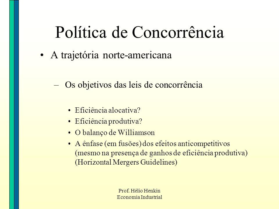Prof. Hélio Henkin Economia Industrial Política de Concorrência A trajetória norte-americana – Os objetivos das leis de concorrência Eficiência alocat