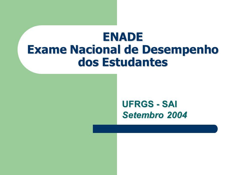 ENADE Exame Nacional de Desempenho dos Estudantes UFRGS - SAI Setembro 2004