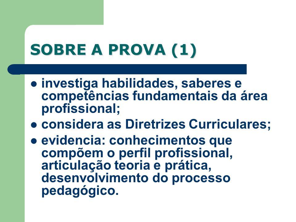SOBRE A PROVA (1) investiga habilidades, saberes e competências fundamentais da área profissional; considera as Diretrizes Curriculares; evidencia: co