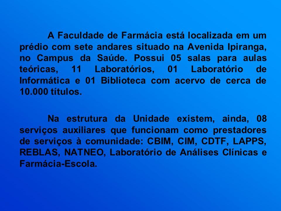 A Faculdade de Farmácia está localizada em um prédio com sete andares situado na Avenida Ipiranga, no Campus da Saúde. Possui 05 salas para aulas teór