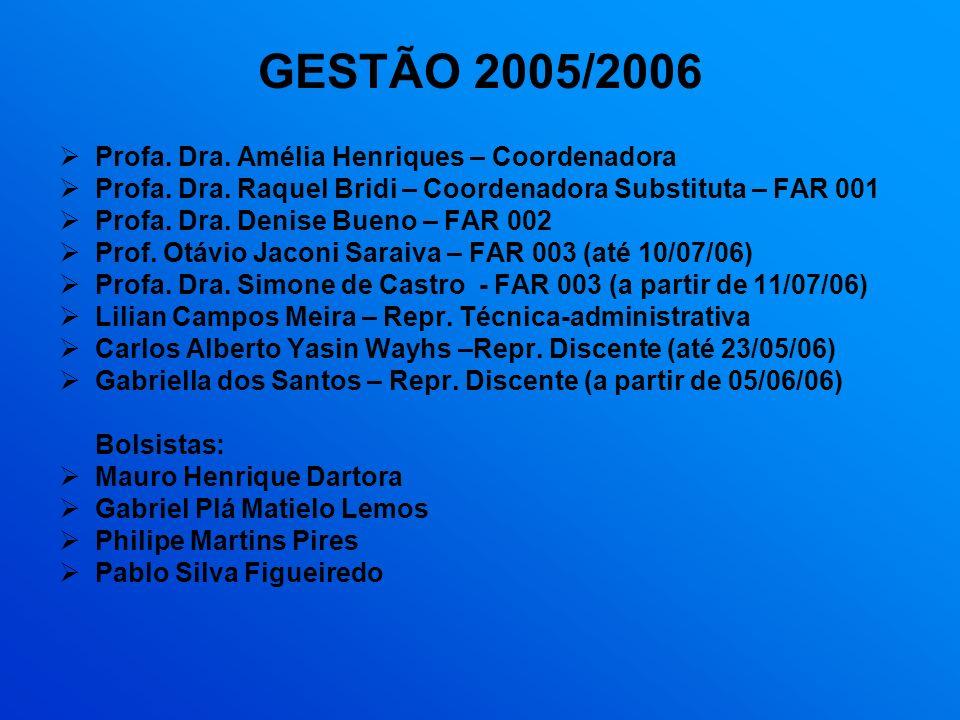 GESTÃO 2005/2006 Profa. Dra. Amélia Henriques – Coordenadora Profa. Dra. Raquel Bridi – Coordenadora Substituta – FAR 001 Profa. Dra. Denise Bueno – F