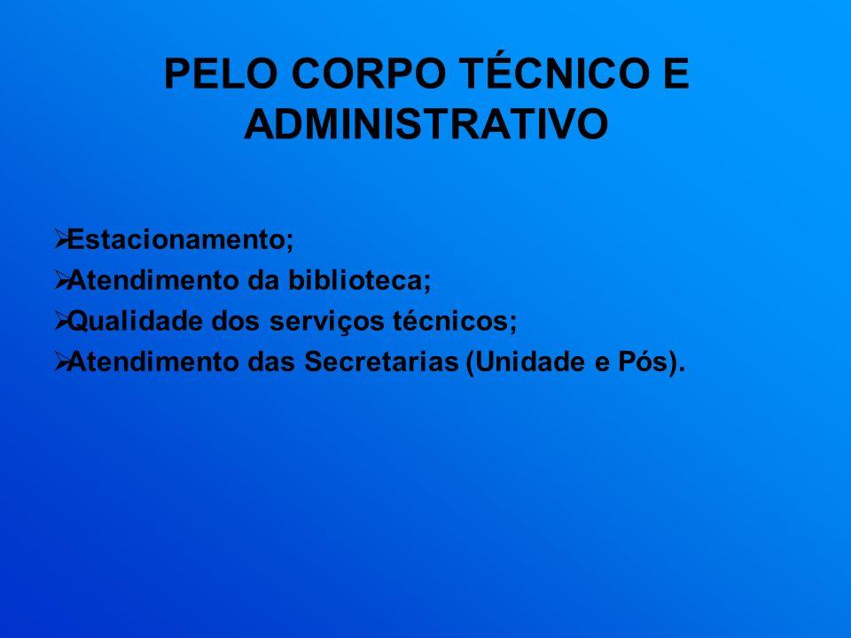 PELO CORPO TÉCNICO E ADMINISTRATIVO Estacionamento; Atendimento da biblioteca; Qualidade dos serviços técnicos; Atendimento das Secretarias (Unidade e