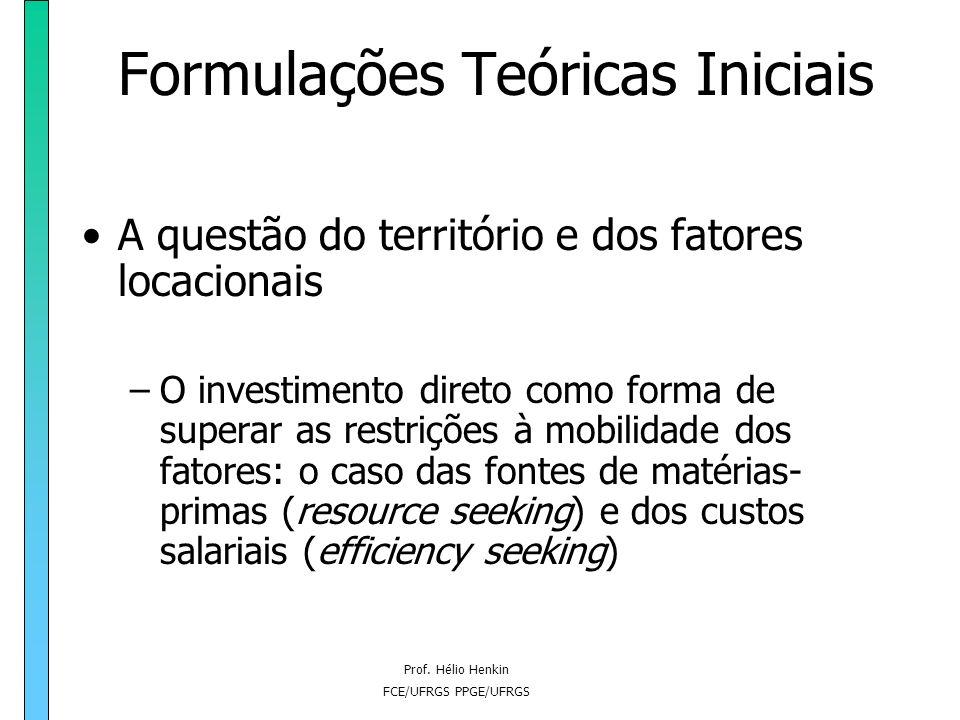 Prof. Hélio Henkin FCE/UFRGS PPGE/UFRGS Formulações Teóricas Iniciais A questão do território e dos fatores locacionais –O investimento direto como fo