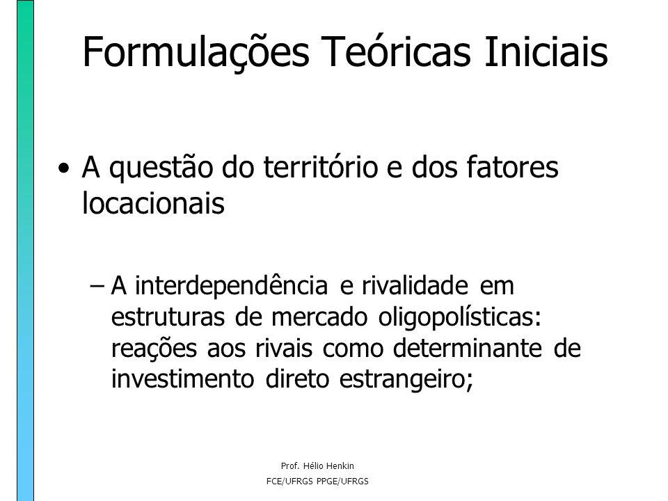 Prof. Hélio Henkin FCE/UFRGS PPGE/UFRGS Formulações Teóricas Iniciais A questão do território e dos fatores locacionais –A interdependência e rivalida