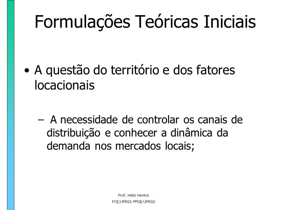Prof. Hélio Henkin FCE/UFRGS PPGE/UFRGS Formulações Teóricas Iniciais A questão do território e dos fatores locacionais – A necessidade de controlar o