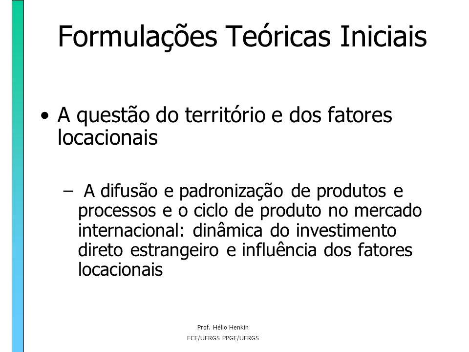 Prof. Hélio Henkin FCE/UFRGS PPGE/UFRGS Formulações Teóricas Iniciais A questão do território e dos fatores locacionais – A difusão e padronização de