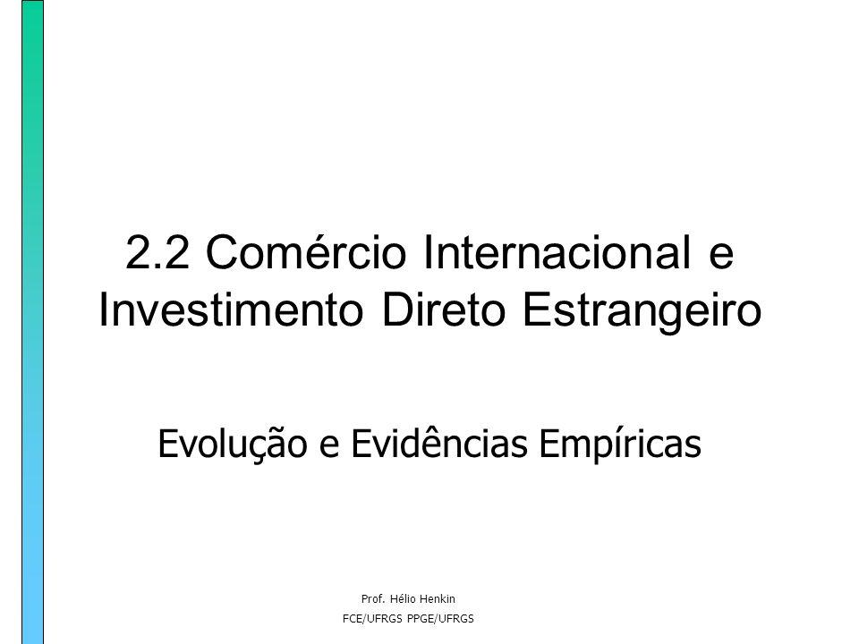 Prof. Hélio Henkin FCE/UFRGS PPGE/UFRGS 2.2 Comércio Internacional e Investimento Direto Estrangeiro Evolução e Evidências Empíricas