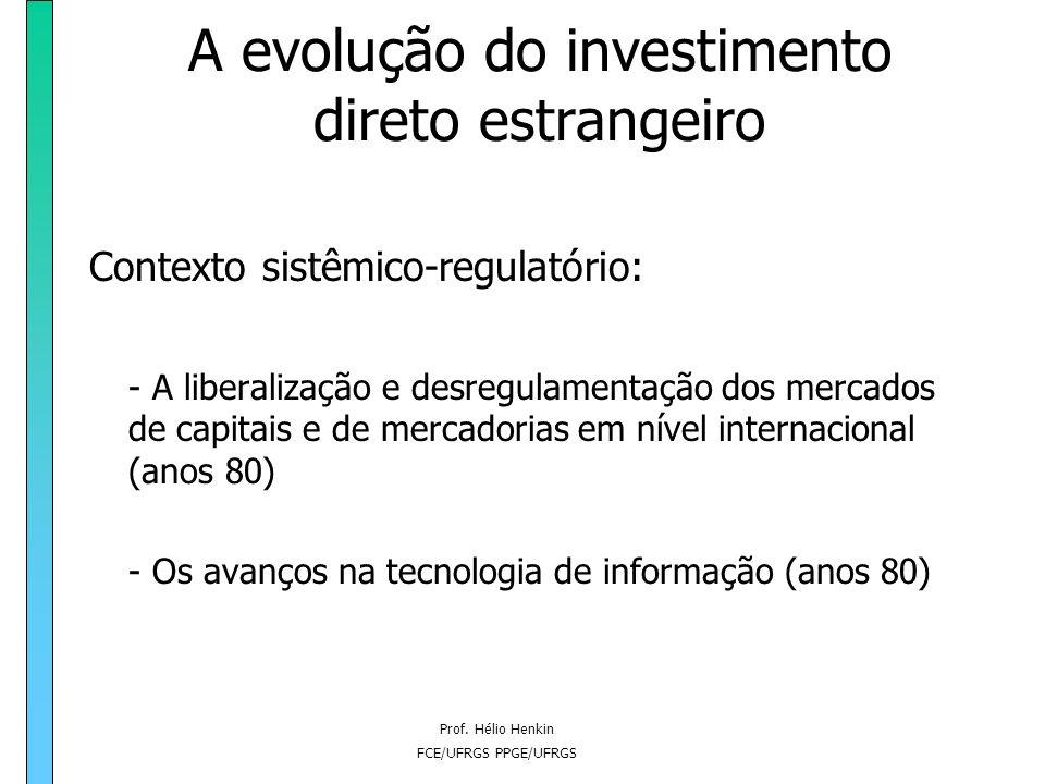 Prof. Hélio Henkin FCE/UFRGS PPGE/UFRGS A evolução do investimento direto estrangeiro Contexto sistêmico-regulatório: - A liberalização e desregulamen
