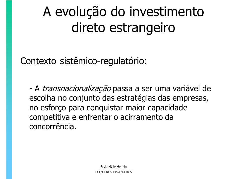 Prof. Hélio Henkin FCE/UFRGS PPGE/UFRGS A evolução do investimento direto estrangeiro Contexto sistêmico-regulatório: - A transnacionalização passa a