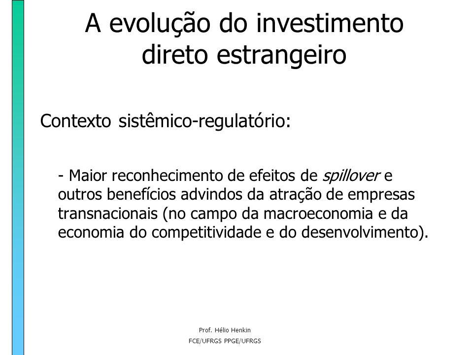 Prof. Hélio Henkin FCE/UFRGS PPGE/UFRGS A evolução do investimento direto estrangeiro Contexto sistêmico-regulatório: - Maior reconhecimento de efeito