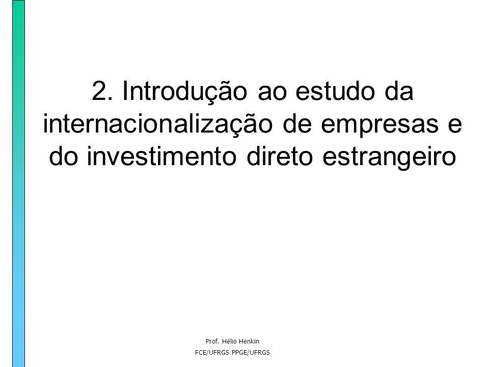 Prof. Hélio Henkin FCE/UFRGS PPGE/UFRGS 2. Introdução ao estudo da internacionalização de empresas e do investimento direto estrangeiro